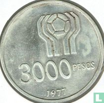 """Argentina 3000 pesos 1977 """"1978 Football World Cup in Argentina"""""""
