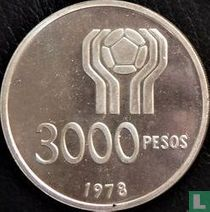"""Argentina 3000 pesos 1978 (PROOF) """"Football World Cup in Argentina"""""""