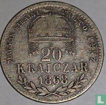 Hongarije 20 krajczar 1868 (KB)