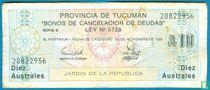 Aregentina Tucumán 10 Australes 1991