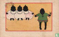 Drie zwarte meisjes met witte jurken en één zwart jongetje met groen pakje
