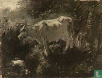 White cow by the water