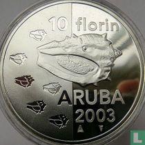 "Aruba 10 florin 2003 (PROOFLIKE) ""Shellfish"""