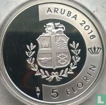 "Aruba 5 florin 2016 (PROOF) ""40th anniversary Flag and anthem and 30th anniversary Status Aparte"""