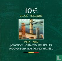 "België 10 euro 2002 (PROOF - folder- misslag) ""50 years Brussels north - south junction"""