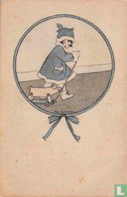 Meisje met houten trekvarken