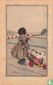 Meisje met pop in arm en hond trekt wagen met pop