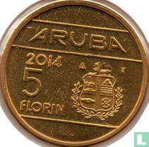 """Aruba 5 florin 2014 """"First year Kingship of Willem-Alexander"""""""