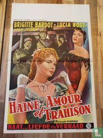 """HAINE, AMOUR et TRAHISON"" BRIGITTE BARDOT - ORIGINAL BELGIAN MOVIE POSTER -"