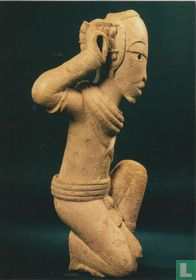 Kneeling figure with right arm raised