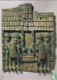 Embossed plaque showing the entrance of teh Oba palace in Benin