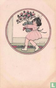 Meisje draagt rozenstruik