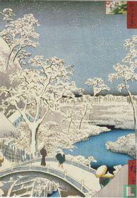 Drum bridge and setting Sun Hill at Meguro, 1857
