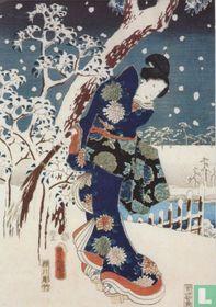 Snow scene in the garden of a Daimyo, part of triptych (silkscreen)