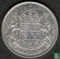 Canada 50 cents 1947 (zonder esdoornblad na jaartal - gebogen 7)