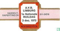 Hasselt Rapertingen A.V.B. Limburg 1e nationale ruildag 3 dec 1972