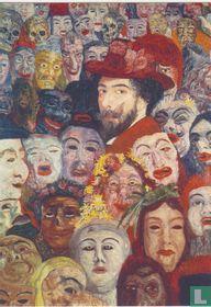 Ensor mit Masken oder Ensor von Masken umgeben, 1899