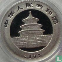 """China 50 yuan 2003 (PROOF - platina) """"Panda"""""""
