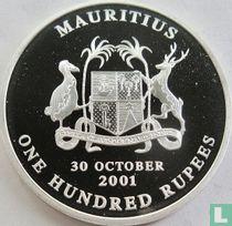 """Mauritius 100 rupees 2001 (PROOF) """"Centenary of arrival in Mauritius of Mahatma Gandhi"""""""