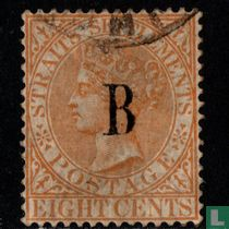 Koningin Victoria met opdruk B