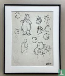 Marten Toonder: sketch drawings of postures and facial expressions of Heer Bommel