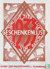 Sunlight zeep Lux Radon Vim Rinso Geschenkenlijst 1933