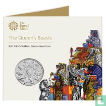 """United Kingdom 5 pounds 2021 (folder) """"The Queen's Beasts"""""""