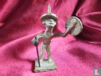 Brons Asante goudgewicht - man met stok en goudzeef