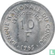 Congo-Kinshasa 10 francs 1965 (type 2)