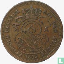 België 2 centimes 1835 (Brede ribbels)