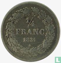 België ¼ franc 1834 (met BRAEMT F.)