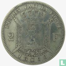 Belgium 2 francs 1868 (with cross on crown)