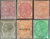 1873 Koningin Victoria- Gekleurde hoekletters (GRB 17)