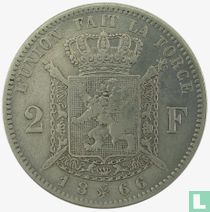 Belgium 2 francs 1866 (with cross on crown)