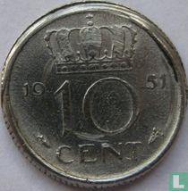 Nederland 10 cent 1951 (misslag)