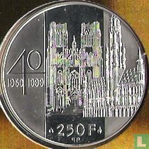 """België 250 francs 1999 (PROOF) """"40th wedding anniversary of King Albert II and Queen Paola"""""""