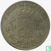 Belgium 2½ francs 1848 (small head)