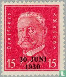 Mainzer Evakuierung überdruckt 1928 Briefmarke