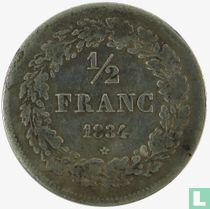 België ½ franc 1834 (lange horizontale streep van 4)