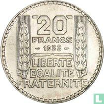 Frankrijk 20 francs 1933 (lange laurierbladeren)