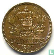 Frankrijk 2 centimes 1840 (proefslag)