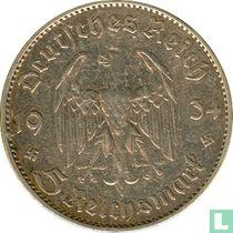 "Duitse Rijk 5 reichsmark 1934 (F - zonder datum) ""1st Anniversary of Nazi Rule - Potsdam Garrison Church"""