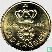 """Denemarken 20 kroner 1990 """"50e verjaardag koningin Margrethe II"""""""