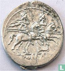 Romeinse Republiek anonieme denarius  209-208 of 179-170 v.Chr.