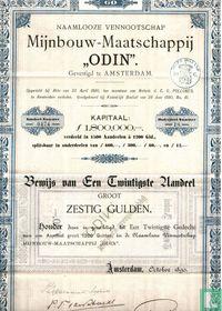 """Mijnbouw-maatschappij """"Odin"""", Bewijs van 1/20e aandeel, 60 gulden, 1890"""