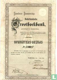 N.V. Nederlandsche Grootboekbank, Oprichters-bewijs, 1889
