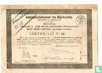 The South Standard (Witwatersrand) Gold Mine Limited, Certificaat van 5 aandelen van 1 Pond, 1889