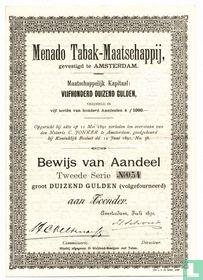Menado Tabak-Maatschappij, Bewijs van Aandeel f 1.000,=, 1891