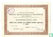 Leidsche Katoenvlechterij en Nettenfabriek, Bewijs van aandeel f 1.000,=, 1890