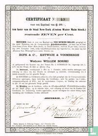 Croton Water Main Stock, Schuldbekentenis $400,=, 1871